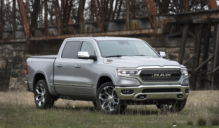 A silver 2021 Ram 1500 EcoDiesel, a full-size pickup truck.