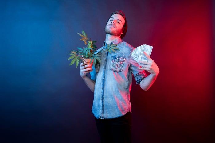Man holding wad of cash and marijuana plant