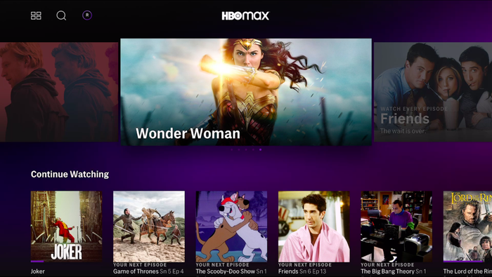 HBO Max home screen on tvOS, featuring a large image of Wonder Woman.