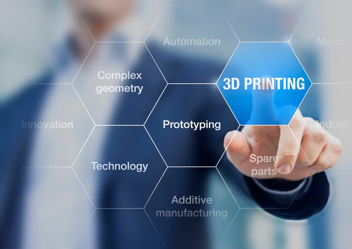 """Illustration of a man touching the words """"3D Printing"""""""