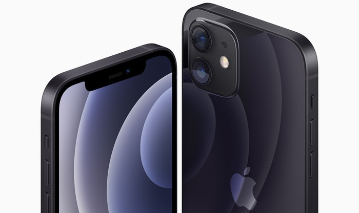 Front and back views of the iPhone 12 in black.