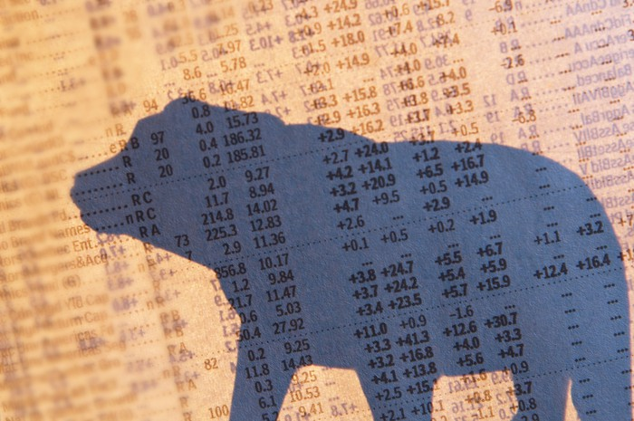 A shadowy silhouette of a bear superimposed atop a financial newspaper with stock quotes.