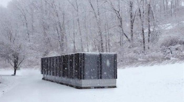 Bloom Energy power generation system in snowy scene