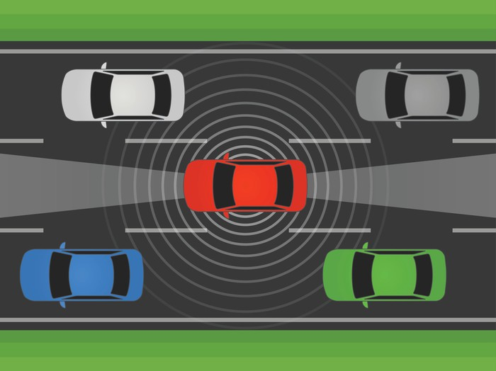 Red car amidst traffic, surrounded by concentric circles representing lidar signals