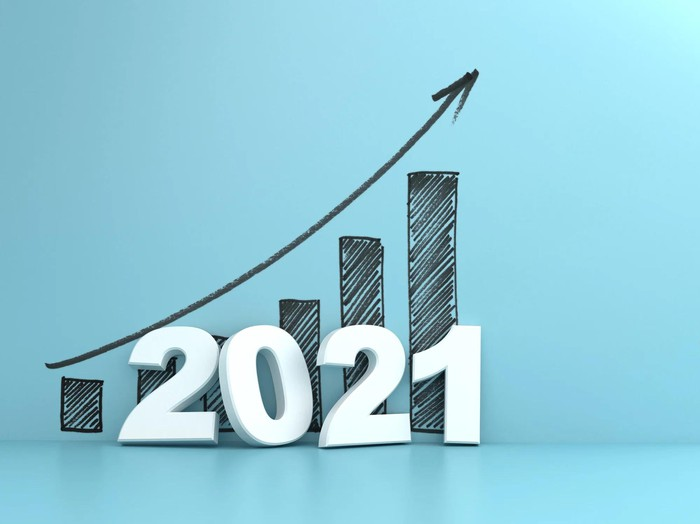 Rising bar graph with an arrow pointing up and the number 2021.