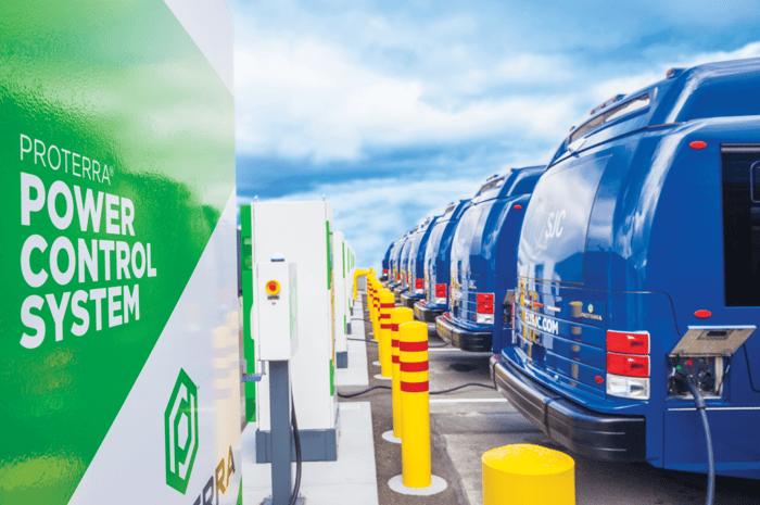 A fleet of Proterra vehicles charging