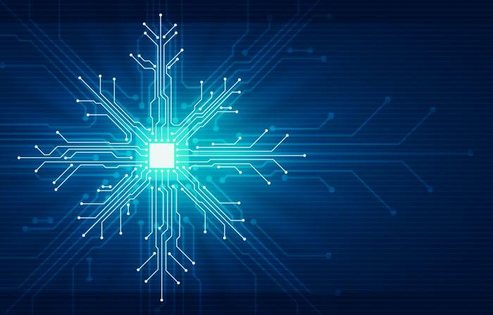 Electronic circuits shaped like a snowflake.