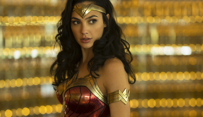 Gal Godot as Wonder Woman turning to see the oncoming threat.