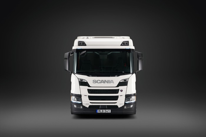Front view of a Scania truck.