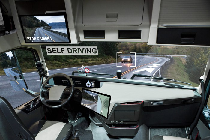 A self-driving truck on the road