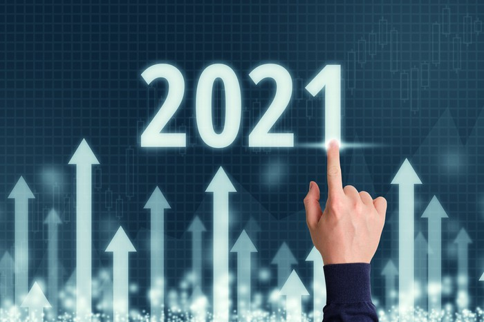 Hand pointing at up arrows and the number 2021