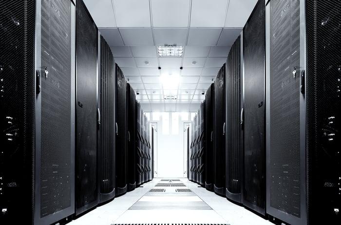 A data center hallway.