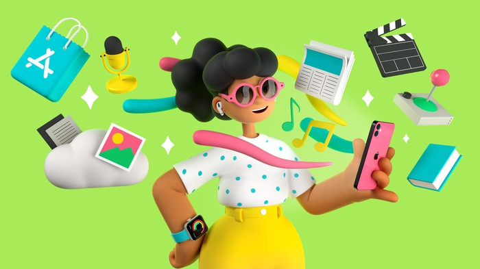 A cartoon woman wearing an Apple Watch and holding an iPhone.
