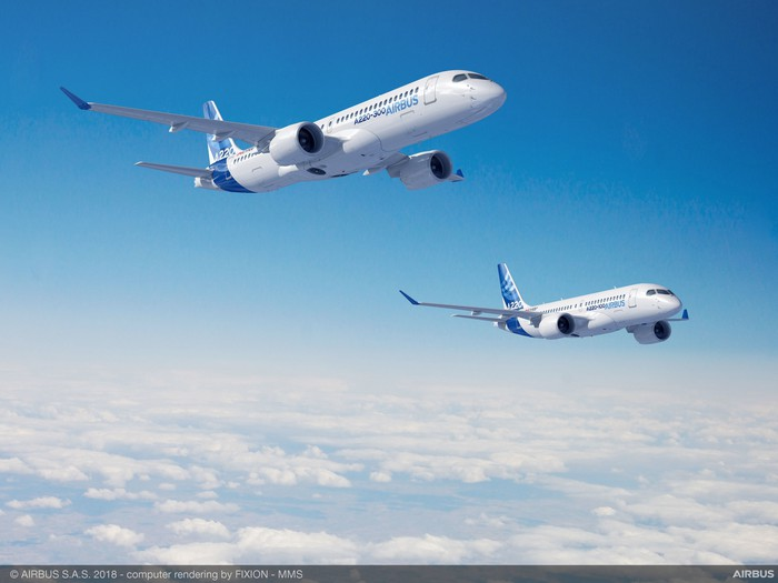 A rendering of an A220-100 and an A220-300 in flight