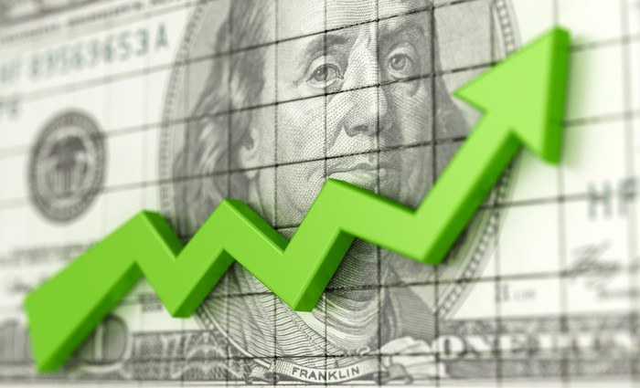 A graph arrow climbing steadily with a $100 bill as a backdrop.