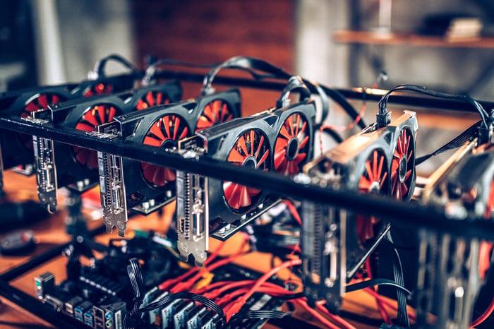 A bitcoin mining rig.