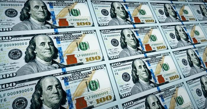 Sheets of new $100 bills