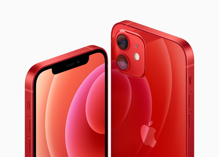 Front and back images of the red iPhone 12.