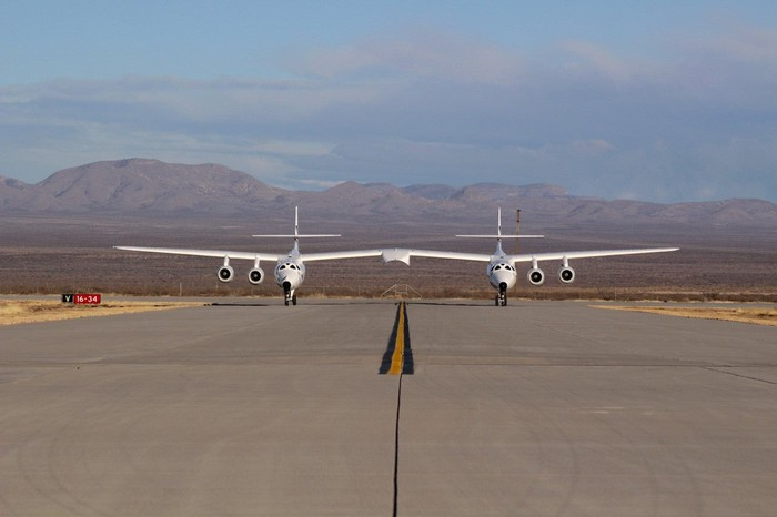 VMS Eve on the runway preparing for Friday Jan. 22 test flight.