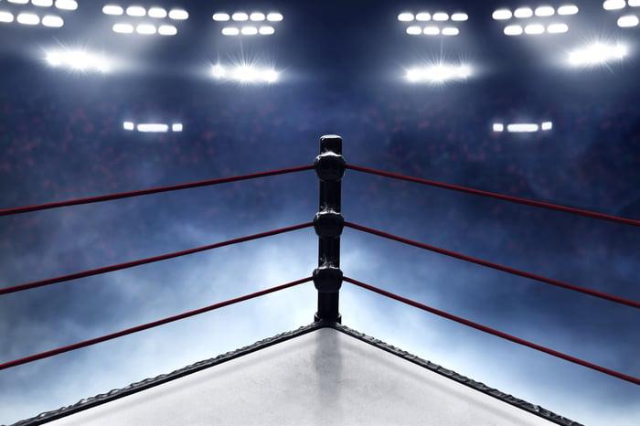 One corner of a wrestling ring.