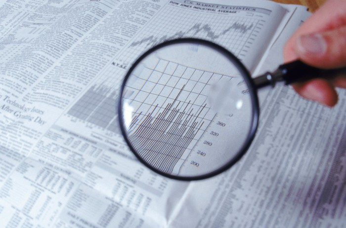A hand holding a magnifying glass over volume data in a financial newspaper.