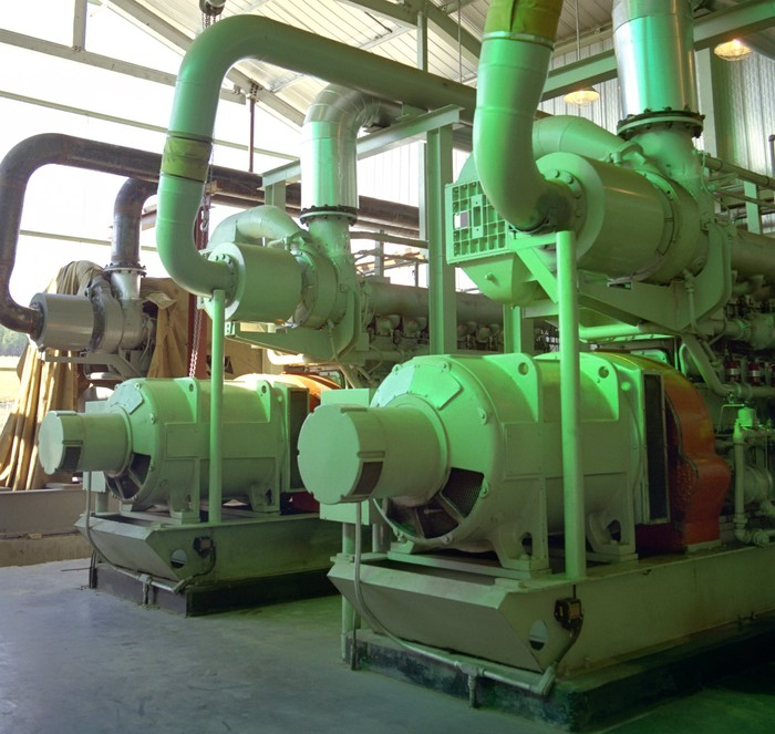 A compressor station used to boost natural gas transmission.