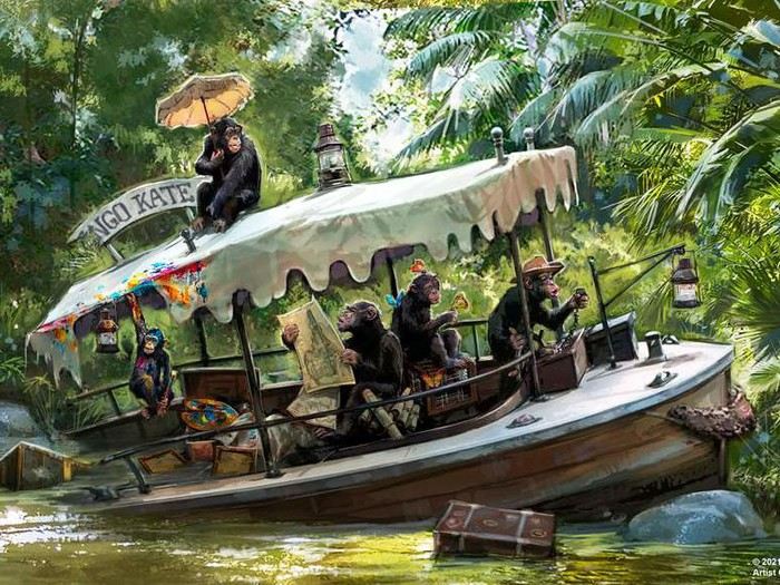 Concept art for Jungle Cruise where a wrecked skipper ship is overtaken by chimpanzees.