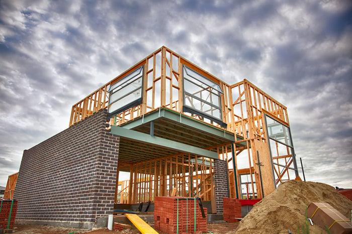 A house under construction.
