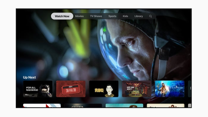 The Apple TV+ home screen displayed on a television set.