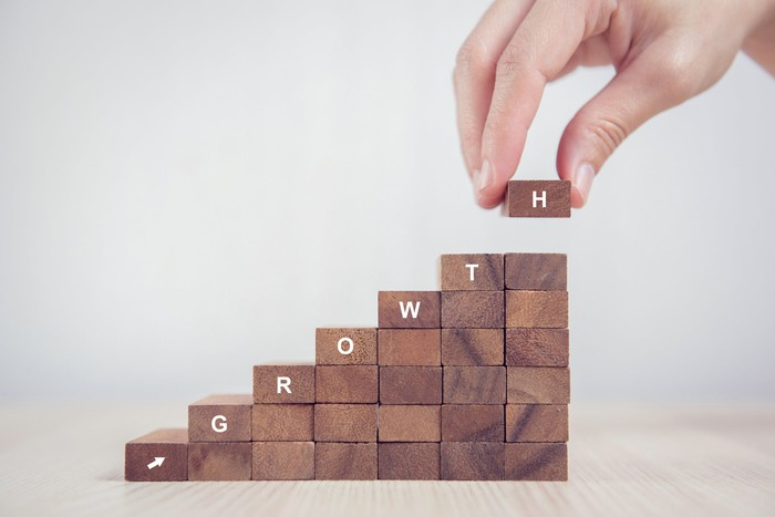 Upward sloping stack of blocks with the letters spelling the word growth going left to right and up.