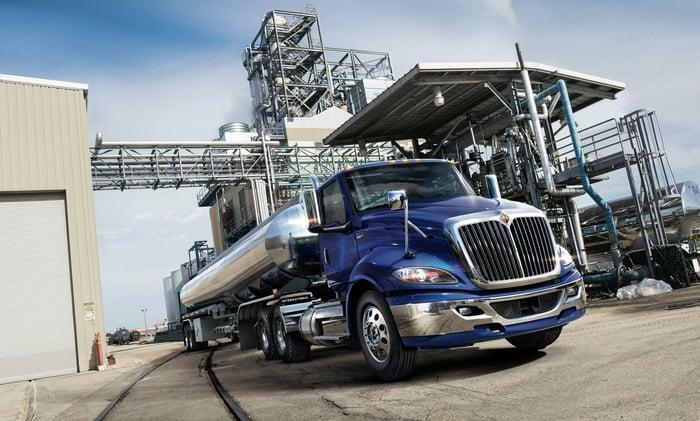 A blue International RH semi truck with a tanker trailer.