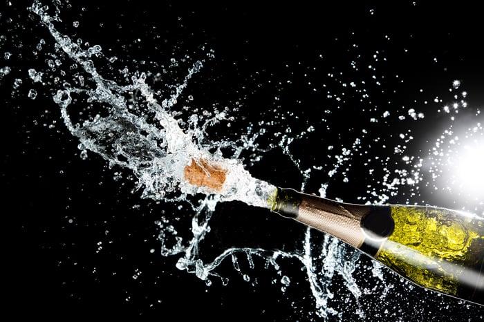 Bottle of champagne exploding