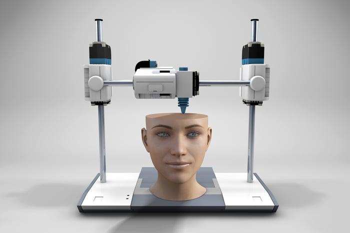 3D printer printing a human-like head