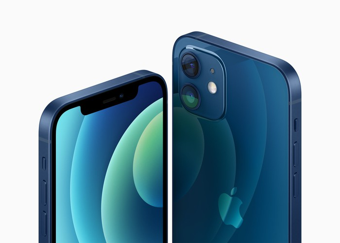 Front and back view of the blue iPhone 12.