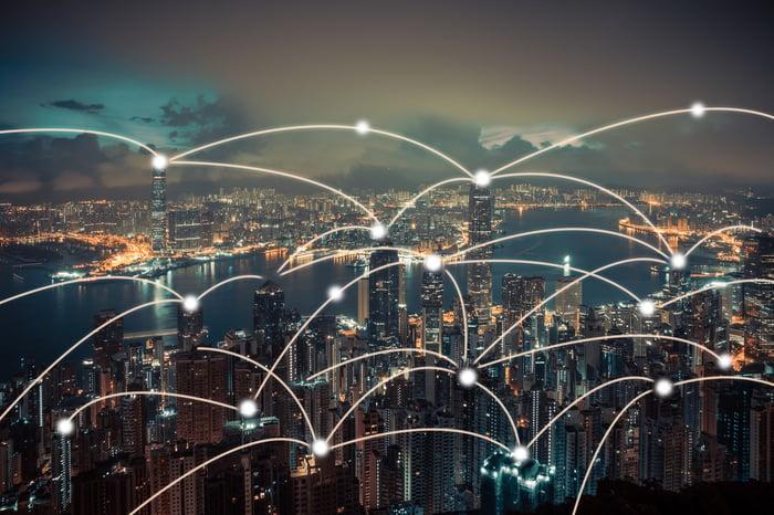 Wireless networks across a city.