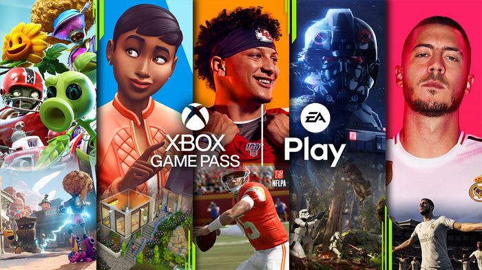 The Xbox Game Pass and EA Play logos displayed against a backdrop of game art from EA's franchise library.