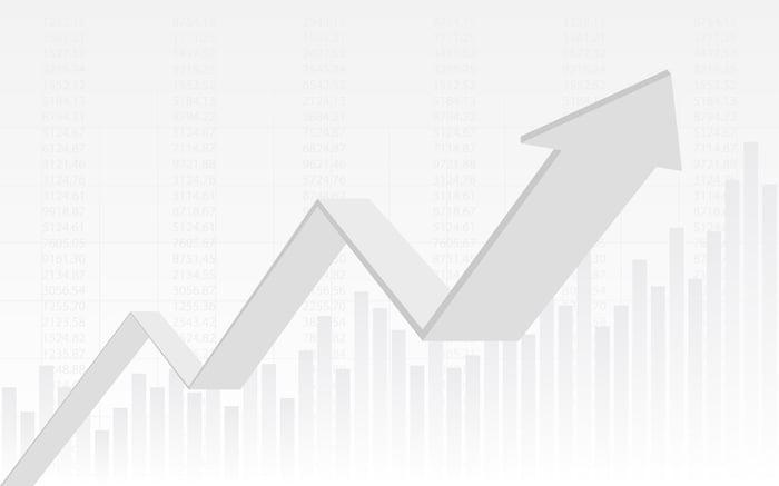 A white charting arrow trends upward.