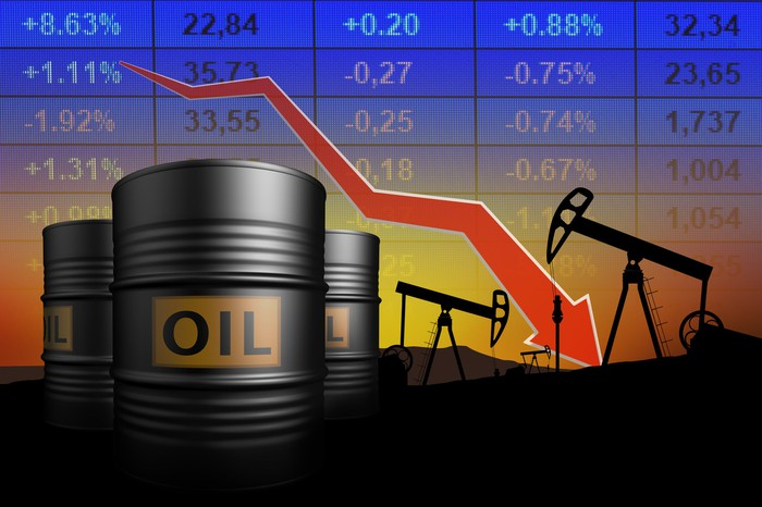 Image of oil barrel with crashing chart behind.