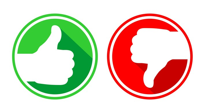 A green thumb up on the left and a red thumb down on the right