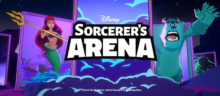 The logo for Disney Sorcerer's Arena with the mermaid Ariel and the blue monster Sully from Monsters Inc.