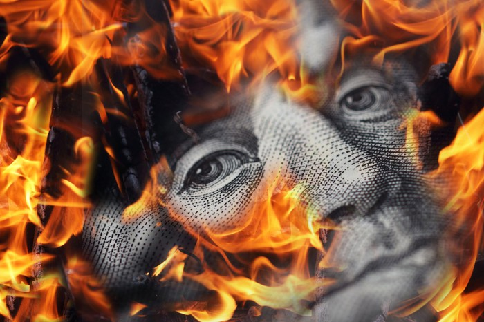 Closeup of money burning
