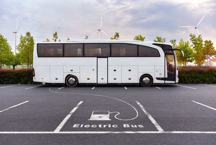 electric bus in parking lot