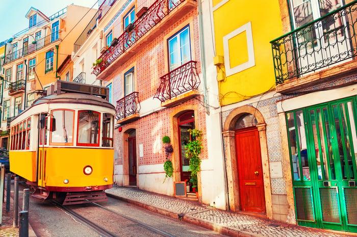 A streetcar in Lisbon, Portugal.