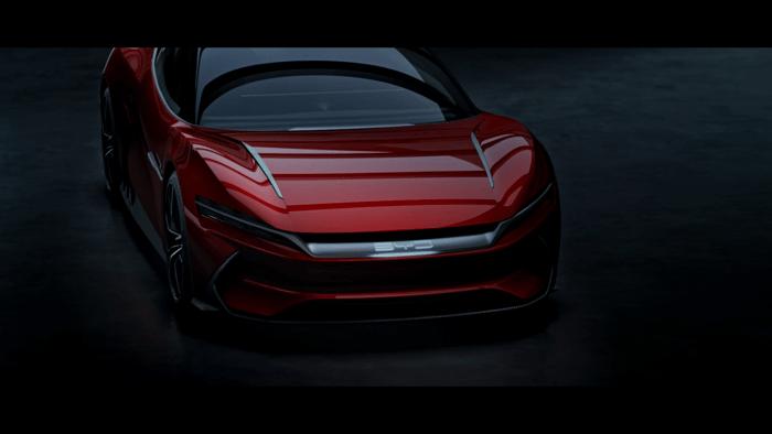 red BYD sports car