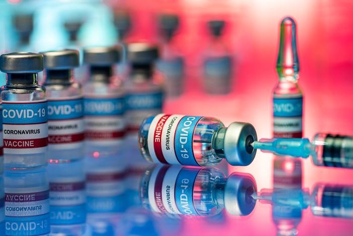 Coronavirus vaccine vials and syringe.
