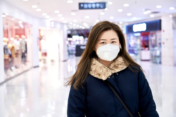 Woman wearing mask in shopping mall.