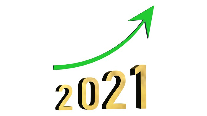Green arrow trending up over the numerals 2021.