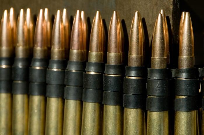 Rows of .50 caliber ammunition