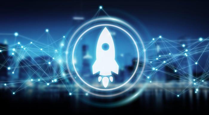 A rocket ship icon.