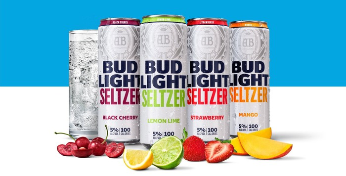 Cans of Bud Light hard seltzer